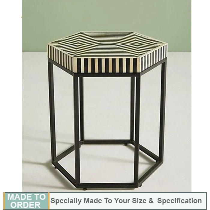 Aria+Striped+Hexagonal+Bone+Inlay+Table+Black+and+White