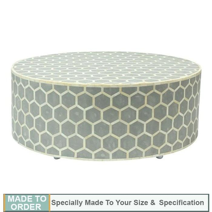Ava+Honeycomb+Design+Bone+Inlay+Round+Coffee+Table+Grey