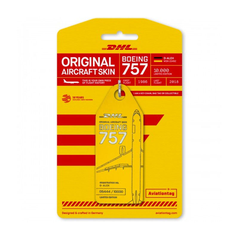 Boeing B757 DHL Aviation Tag - Yellow