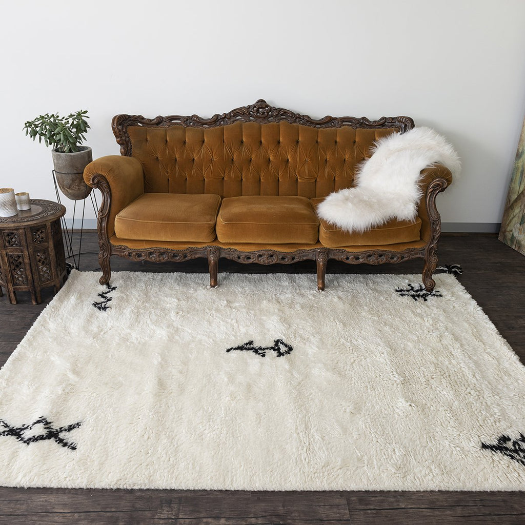 Azrou New Zealand Shaggy Berber Wool Rug - White
