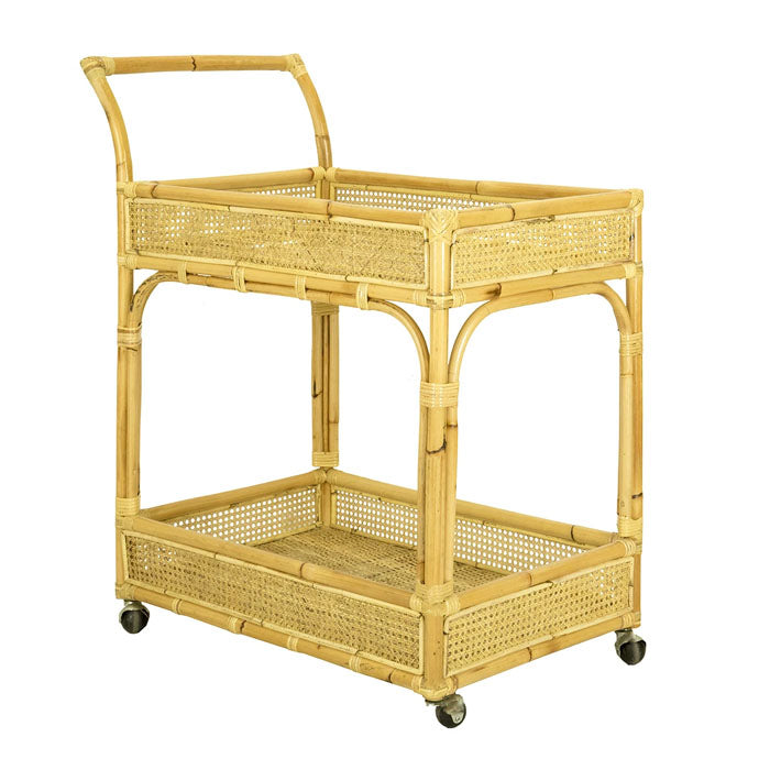 Dahlia Bamboo & Rattan Drinks Trolley Bar Cart