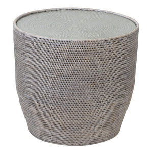 Verandah Rattan Side Table with Glass - Notbrand