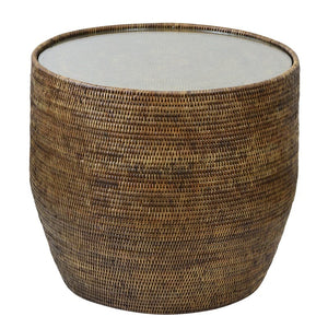 Plantation Rattan Side Table with Glass Top - Notbrand