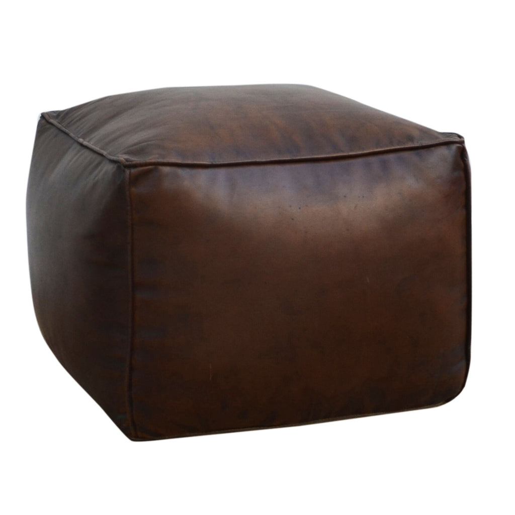 Square Chocolate Leather Ottoman - Notbrand