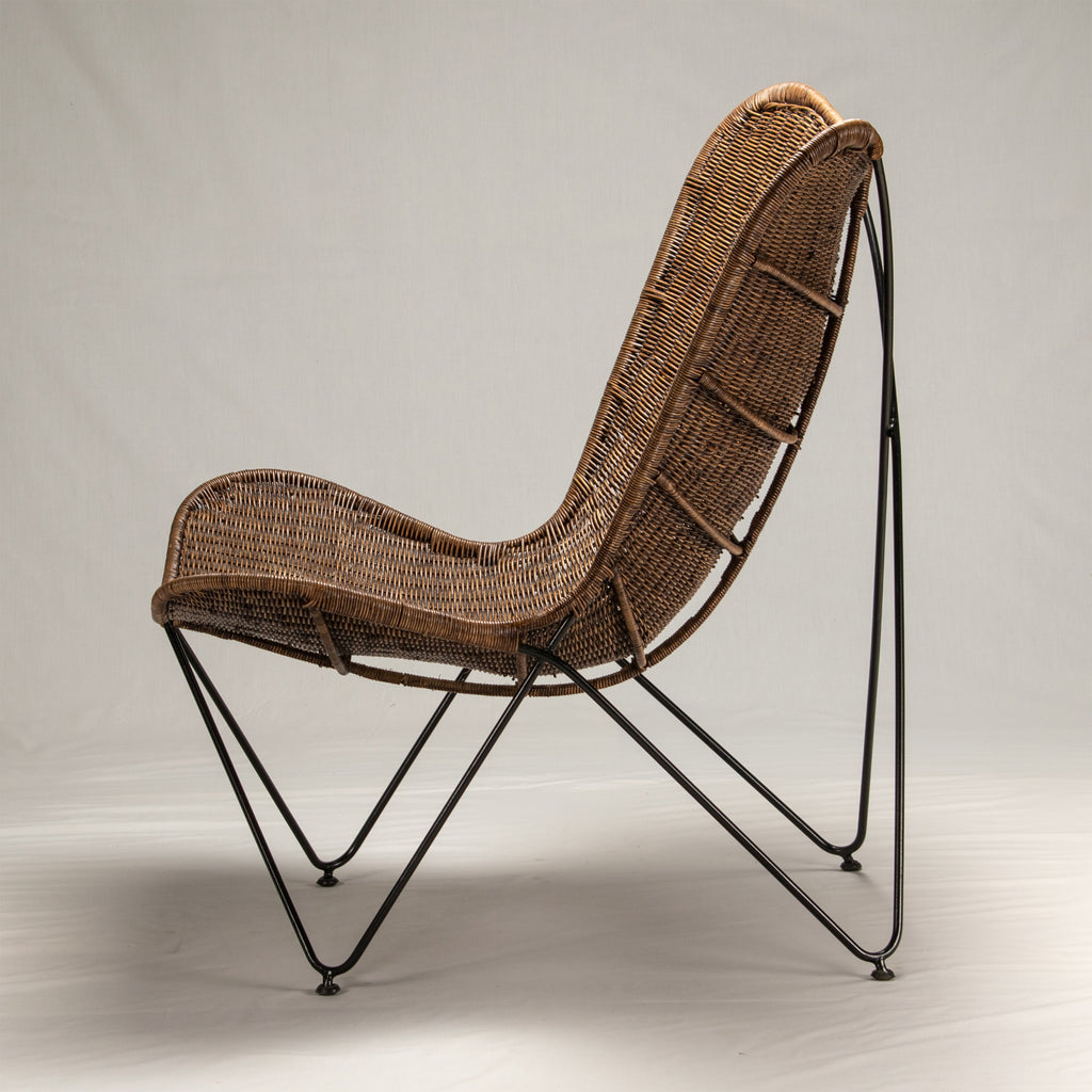 Butterfly Antique Brown Rattan Chair