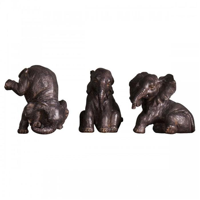 Safari Elephant Statue Trio (3 Piece Set)