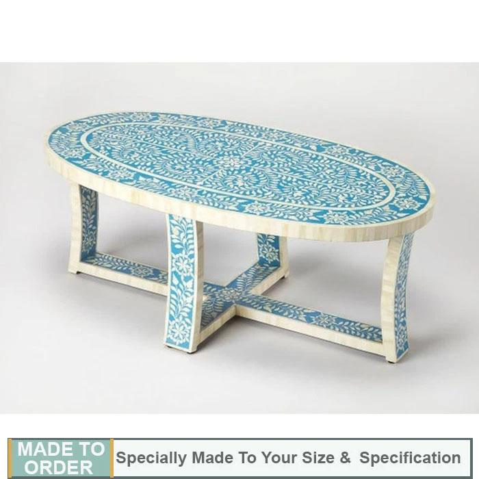 Benito+Oval +Floral+Design+Bone+Inlay+Coffee+table+in+Blue