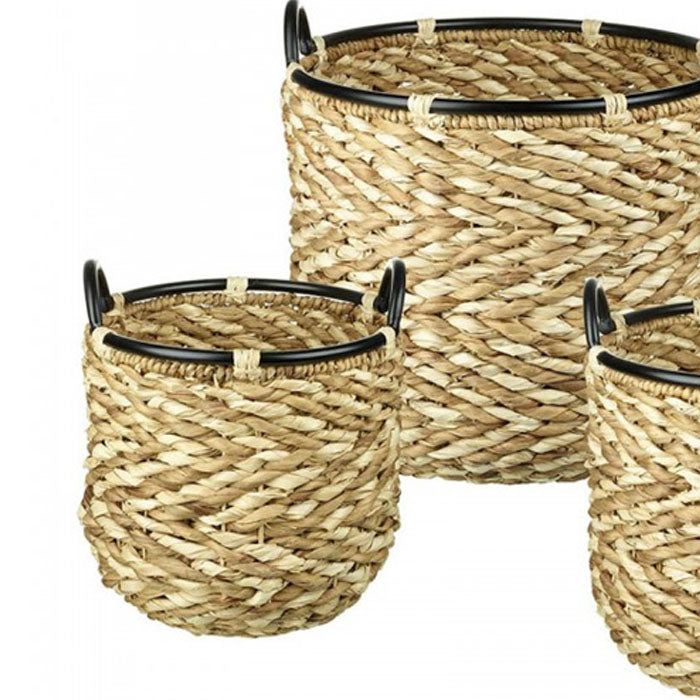 3 Piece Fleur Water Hyacinth Basket Natural - Notbrand