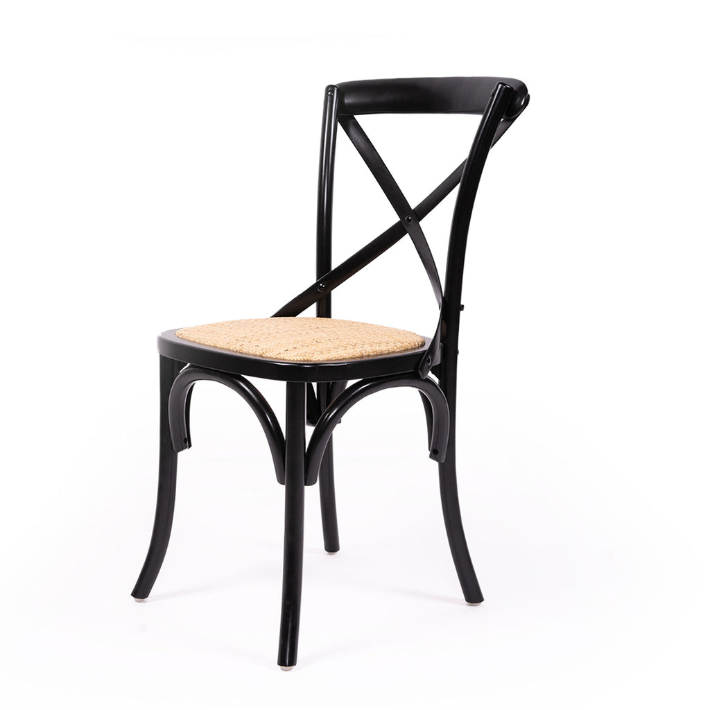 Black Cross Back Chair with Rattan Seat - Notbrand