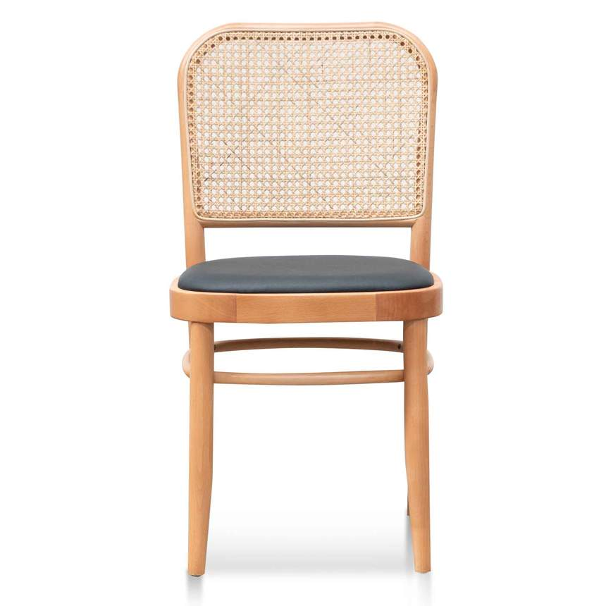 Black Cushion Dining Chair - Natural Rattan and Frame - Notbrand