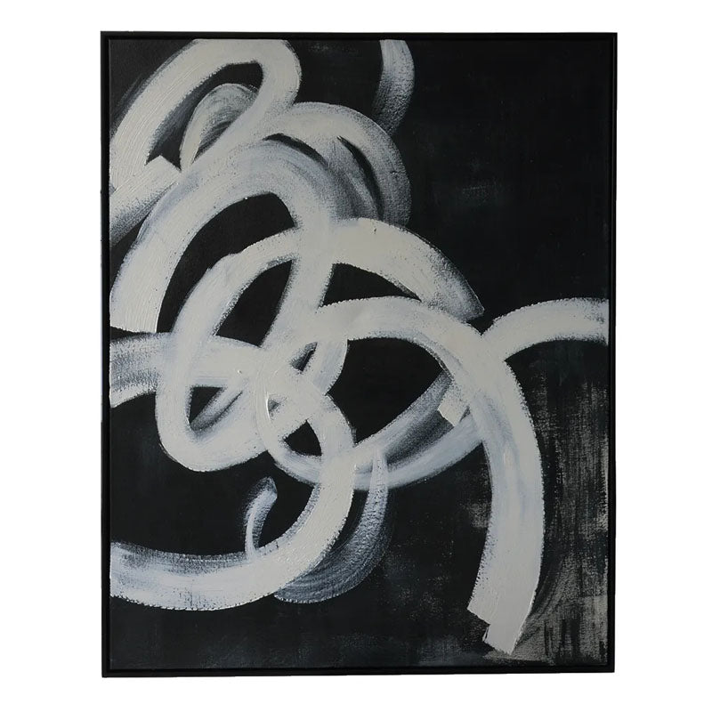 Black Twirl 1 Hand Painted Art - Notbrand