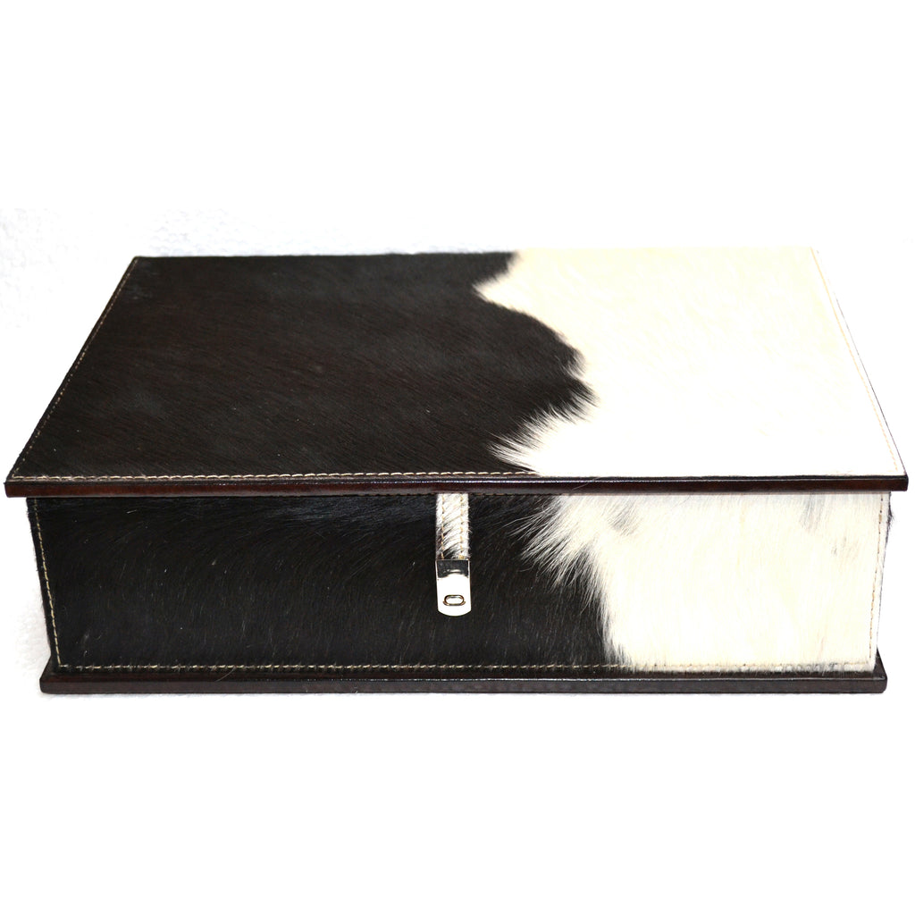 Abadie Black & White Fur Pancho Leather Document Box - Notbrand