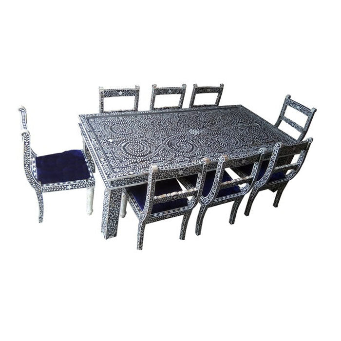 Valeria Bone Inlay Floral Dining Table and Eight Chair Set - Notbrand