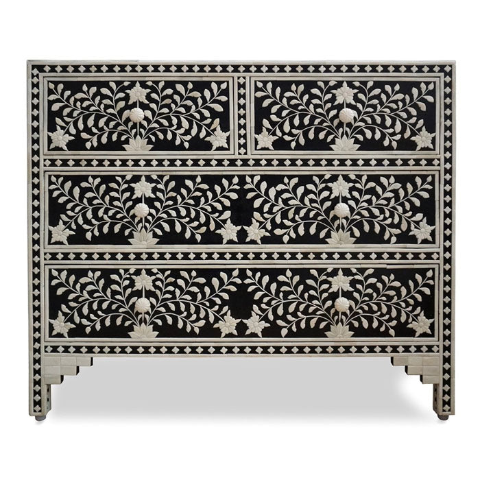Gianna Black Floral Embossed Bone Inlay Chest 4 Drawers Dresser - Notbrand