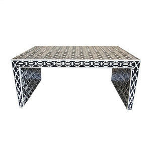 Isla Black and White Bone Inlay Geometric Coffee Table - Notbrand