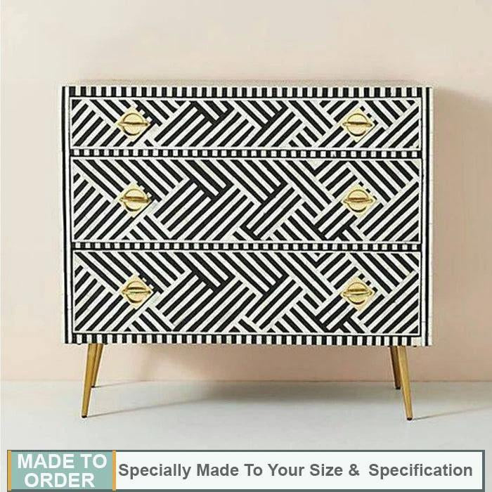 Blanca+Bone+Inlay+Chest+of+3+Drawers+Dresser+Stripe+Line+Design+Black