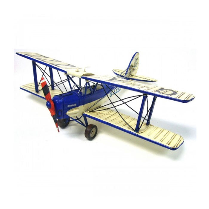 Blue and White Tiger Moth Plane Ornament - 50cm - Notbrand