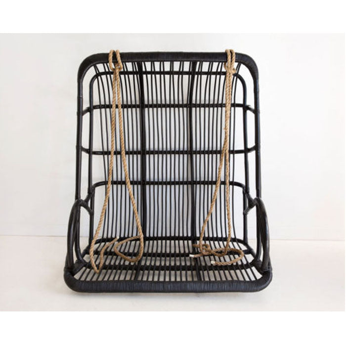 Brighton Rattan Frame Hanging Chair – Black - Notbrand