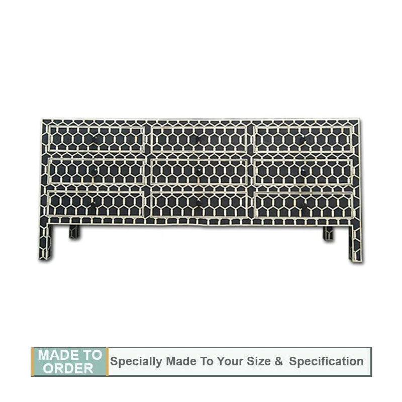 Mishka Bone Inlay 9 Drawer Sideboard Honeycomb Design Black - Notbrand