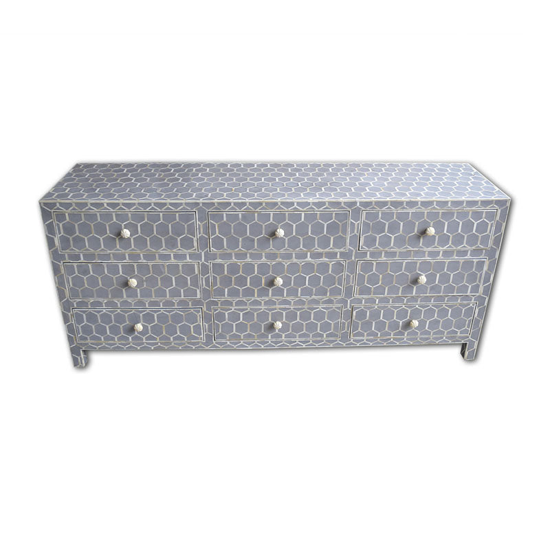 Mishka Bone Inlay 9 Drawer Sideboard Honeycomb Design Grey - Notbrand
