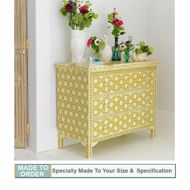 Sneha Bone Inlay Chest of 3 Drawers Floral Pattern Mustard Colour - Notbrand
