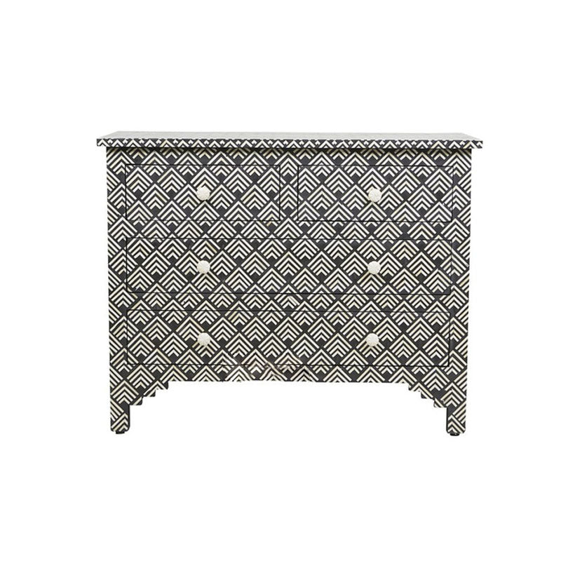 Saloni Bone Inlay Chest of 4 Drawers Cuboid Pattern Black - Notbrand