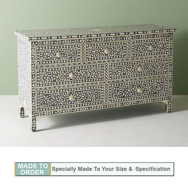 Rachit Bone Inlay Chest Of 7 Drawers in Floral Design Pale Gray - Notbrand
