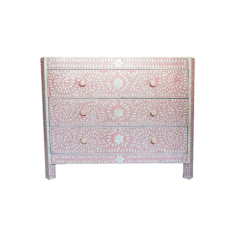 Aarav Bone Inlay Chest of 3 Drawers Tapered Edges Floral Design Soft Pink - Notbrand