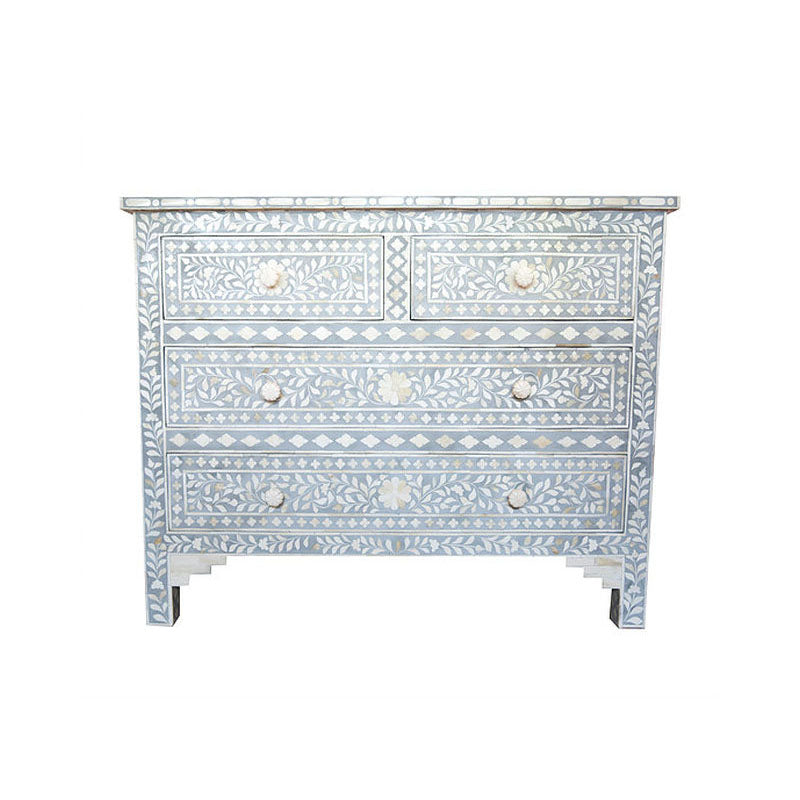 Rudra Bone Inlay 4 Drawer Chest Floral Pattern Grey and White - Notbrand