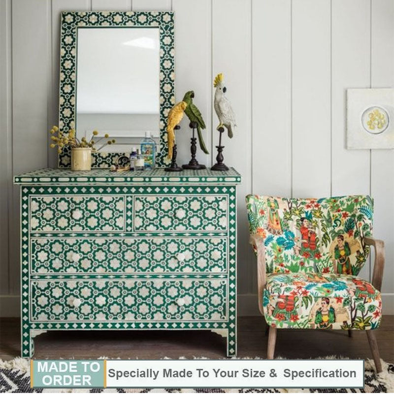 Yash Bone Inlay Chest of 4 Drawers Floral Pattern Jade Green - Notbrand