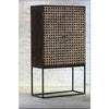 Elison Bone Inlay Bar Cabinet Cube Design Mahogany - Notbrand