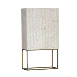 Charlotte Bone Inlay Bar Cabinet Cupboard White - Notbrand