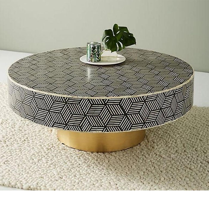 Stella Bone Inlay Coffee Table Geometric Cube Design Black - Notbrand