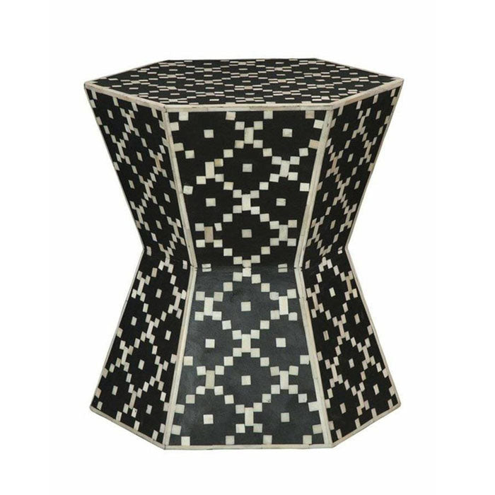 Kayden Diamond Design Bone Inlay Drum Side Table Black - Notbrand