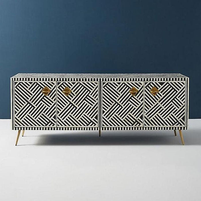 Shirlee Bone Inlay Entertainment Unit Stripe Design - Notbrand