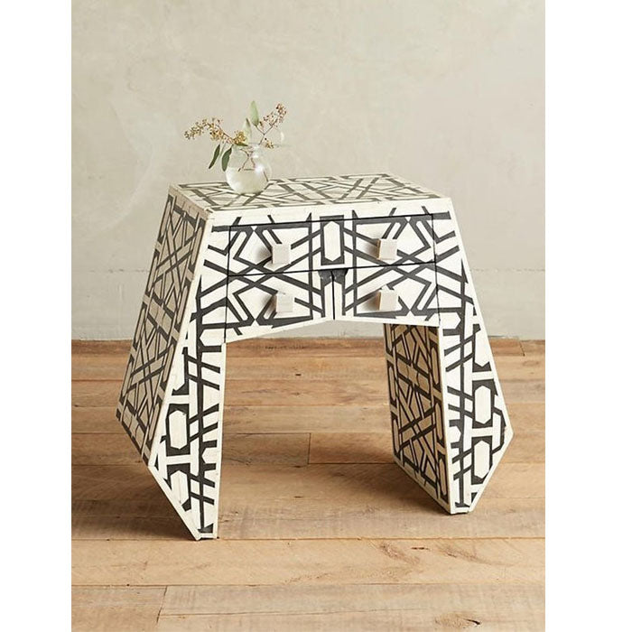 Alejandro Bone Inlay Geometric Design 3 drawer Side Table / Nightstand - Notbrand