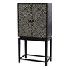 Carlos Bone Inlay Geometric Design Bar Cabinet in Black - Notbrand