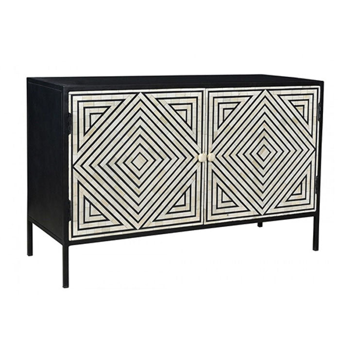 Vivian Geometric Stripe Design Bone Inlay Sideboard Cabinet - Notbrand