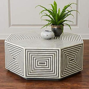 Lydia Octagonal Bone Inlay Coffee Table Stripe Design Black - Notbrand