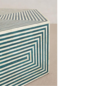 Valentina Bone Inlay Coffee Table Hexagonal Stripe Design Turquoise - Notbrand