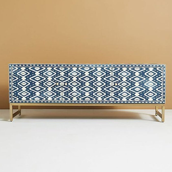 Sandor Bone Inlay Entertainment Unit Sideboard Ikkat Pattern - Notbrand