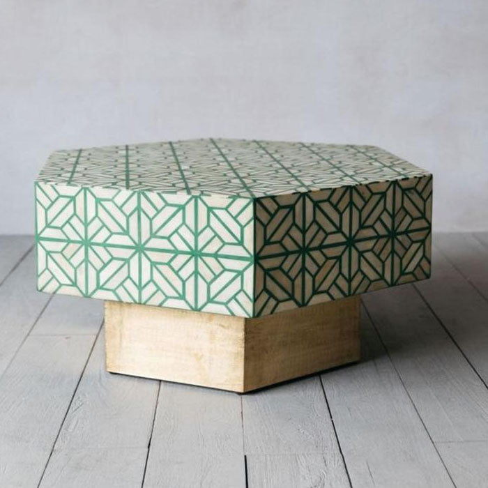 Cora Hexagonal Bone Inlay Coffee Table Green - Notbrand