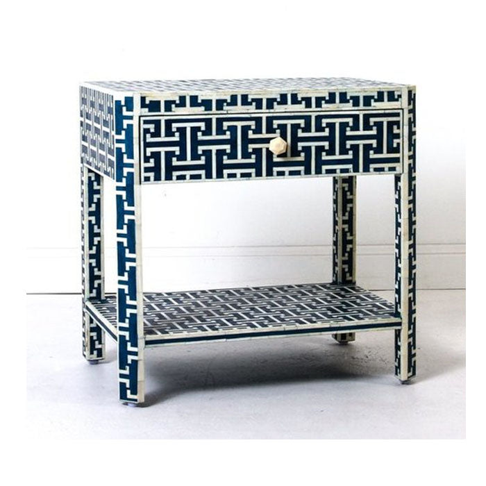 Brooklyn Bone Inlay 1 Drawer 1 Shelf Side Table Dark Blue - Notbrand