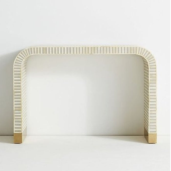 Romeo Bone Inlay Waterfall Console in White & Grey - Notbrand