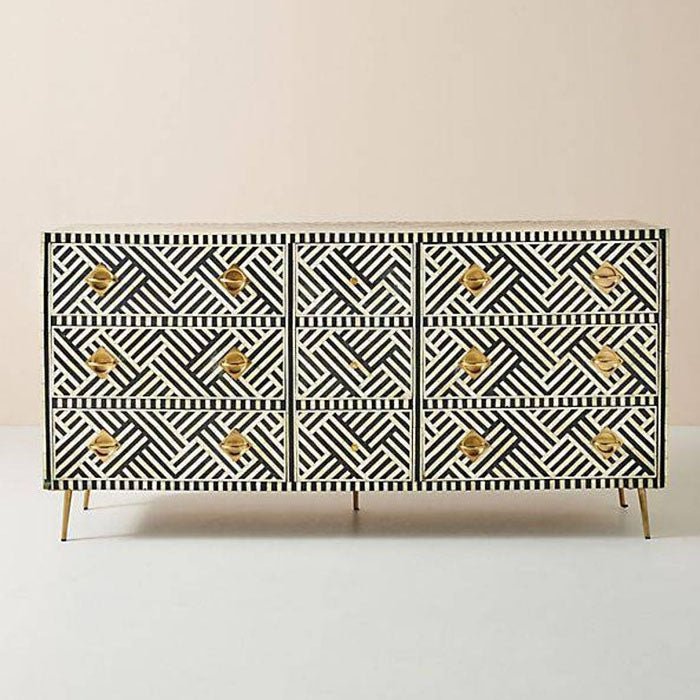 Shirlee Bone Inlay Chest of 9 Drawers Dresser Stripe Design Black - Notbrand