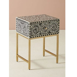 Ayra Bone inlay Side Table Floral Design in Black - Notbrand