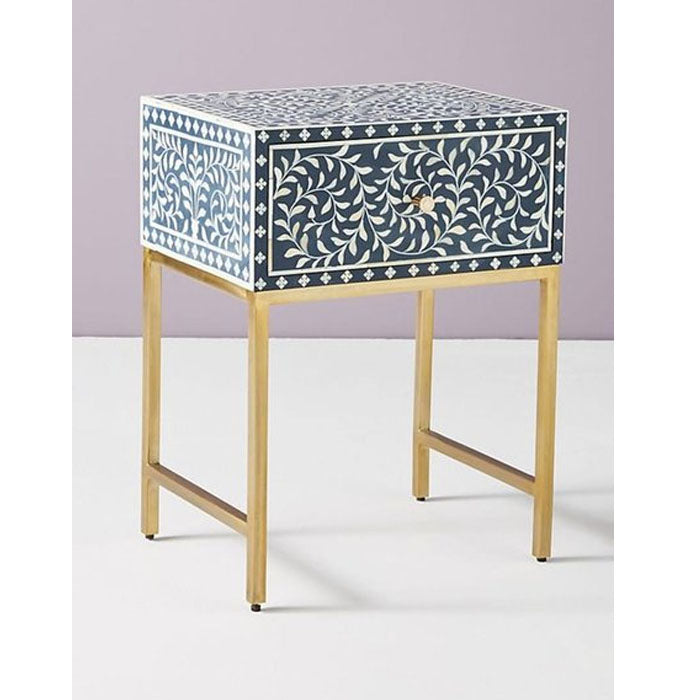 Dhia Bone Inlay Side Table Floral Design Blue - Notbrand