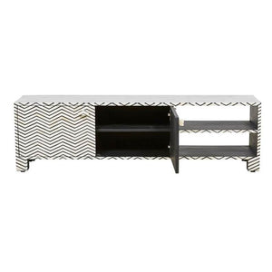 Ryan Chevron Bone Inlay  Entertainment Unit Black - Notbrand
