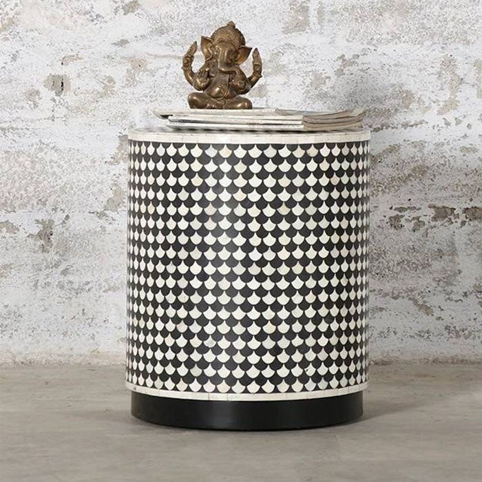 Arya Bone Inlay Drum Stool Occasional Side Table - Notbrand