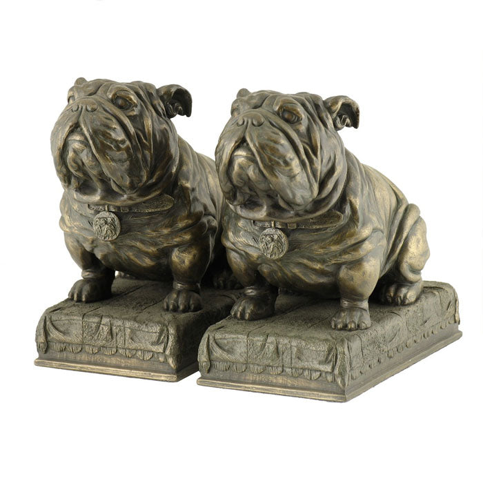 Set of 2 Bulldogs Bookends Bronze Figurine